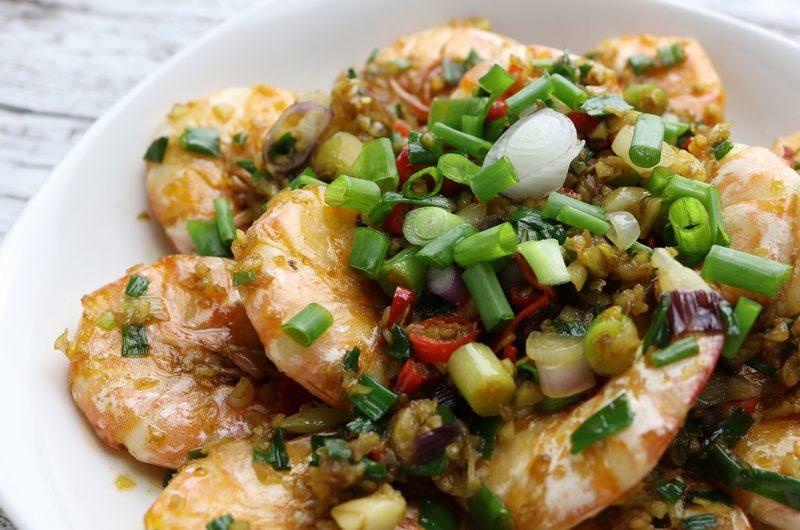 Stir-Fried Chilli Garlic Prawn with Soy Sauce 蒜辣香葱酱油虾