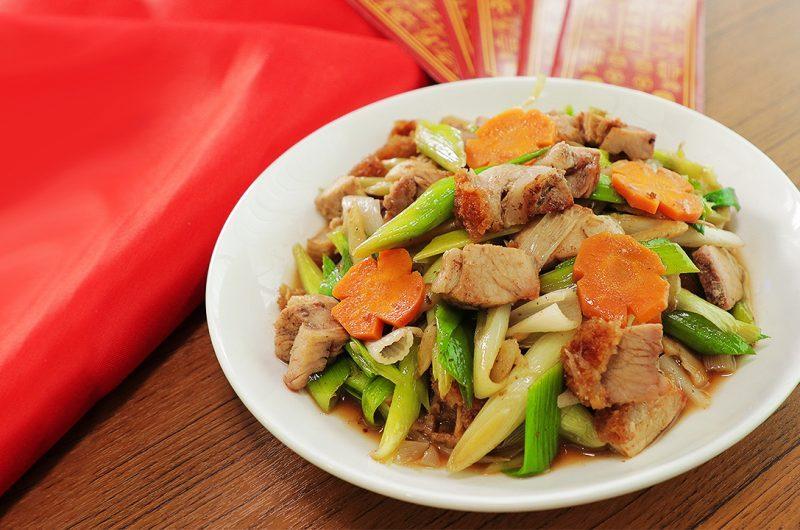 Stir-Fried Roasted Pork with Leek 烧肉炒蒜苗