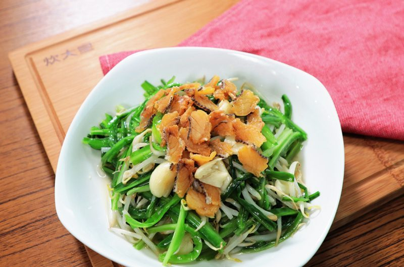 Stir-Fried Green Dragon Vegetable with Salted Fish 咸鱼炒芽菜青龙菜