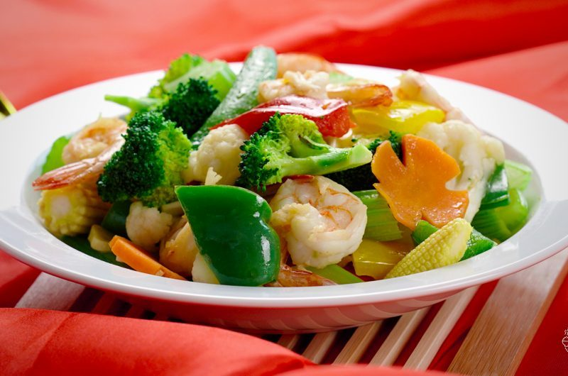 Stir-Fried Mixed Vegetable with Prawn 虾球杂菜