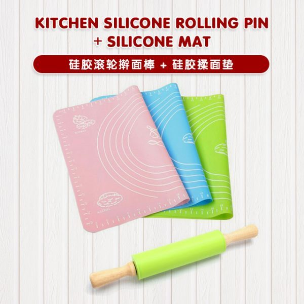 Kitchen Silicone Rolling Pin + Silicone Mat